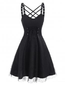 Discount Black Solid Straps Sleeveless Lattice Grommets Lace-up Mesh Overlay Dress