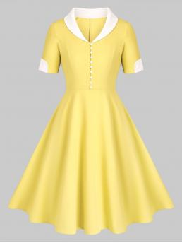 Yellow Others Shawl Short Sleeves Collar Placket Fit and Flare Dress Cheap