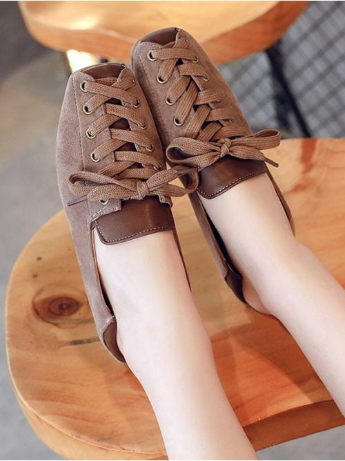 Women's Brown 2cm Suede Patchwork Leisure Lace up Flat Shoes