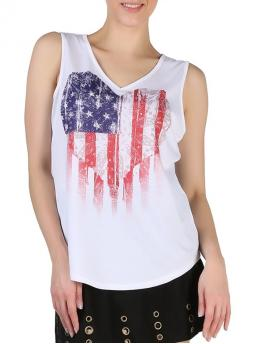 Affordable Polyester American Flag White Fashion Queensfield V Neck Tank Top