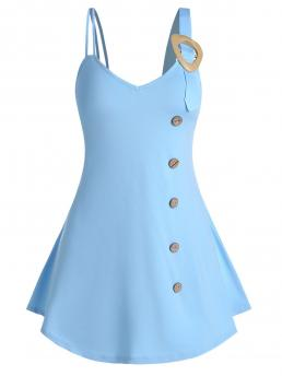 Polyester,spandex Solid Light Blue Casual Pure Color Buckled Cami Tank Top Sale