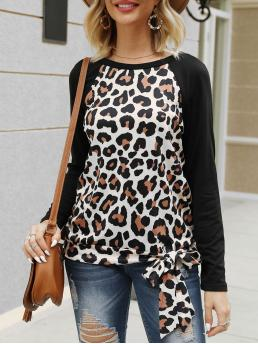 Pretty Full Sleeve Cotton,polyester Leopard Black Raglan Sleeve Knotted T-shirt