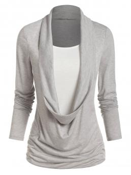 Pretty Full Sleeve Polyester,rayon Others Gray Goose Long Sleeve Heathered Faux Twinset T-shirt