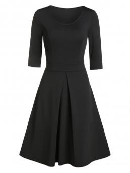 Black Solid Scoop Neck Polyester,polyurethane Color Pleated Flare Dress Discount