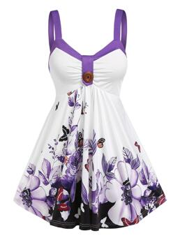 Polyester,polyurethane Floral Purple Cute Flower Empire Waist Tank Top Affordable