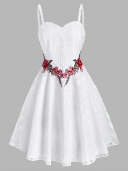White Floral Straps Sleeveless Lace Flower Applique Cami Party Dress on Sale