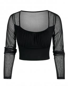 Full Sleeve Polyurethane,rayon Solid Color Black See through Cropped Mesh Top Cheap