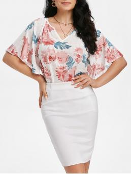 Half Sleeve Polyester,spandex Floral White Flower Print Tunic Blouse Discount