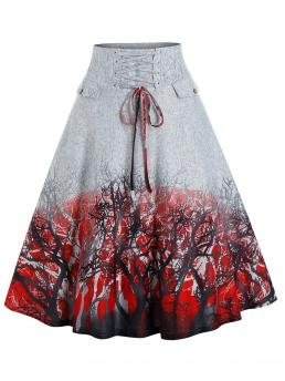 Gray Plant Mid-calf Spring Trees Print Lace-up Front Skirt Fashion