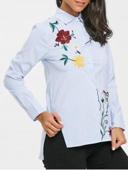 Full Sleeve Polyester Striped Light Blue Embroidered High Low Blouse Fashion
