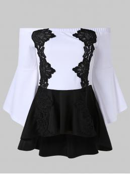 Sale Full Sleeve Polyester,spandex Others Multi Lace Panel High Low Peplum Top