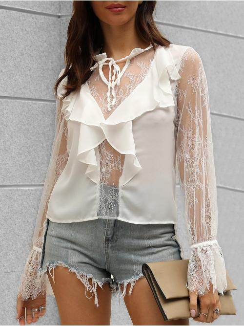 Sale Full Sleeve Polyester,polyurethane Solid White Poet Sleeve Lace Insert Notched Blouse