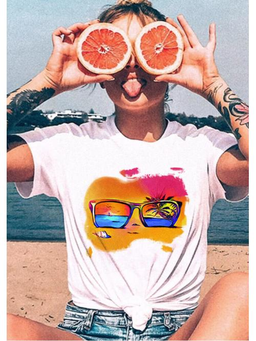 Affordable Short Sleeve Polyester Print White Beach Conch Glasses T-shirt Tee