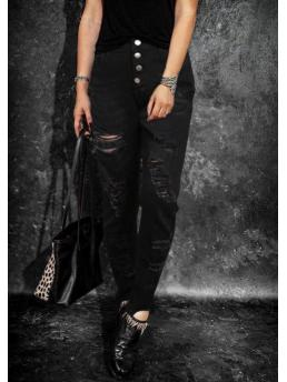 Affordable Black Solid Ankle-length Pants Casual Button Ripped Hole Jeans