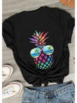 Discount Short Sleeve Polyester Fruit Black Colorful Pineapple Beach Glasses T-shirt Tee