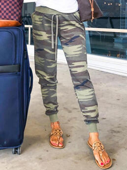 Womens Camouflage Camouflage Full Length Casual Printed Pocket Pants