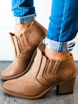 Discount Brown 5 Cm Pu Solid Heeled Boots