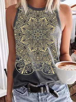 Womens Polyester Print Multicolor Casual Geometric Vest Camisole