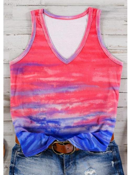 Clearance Polyester Gradient Multicolor Casual V-neck Sleeveless Beach Tank