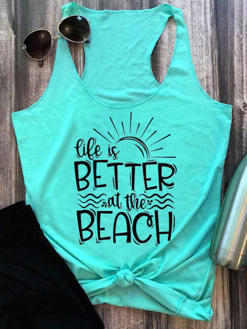Fashion Sleeveless Polyester Letter Cyan Life is Better at the Beach Racerback Tank