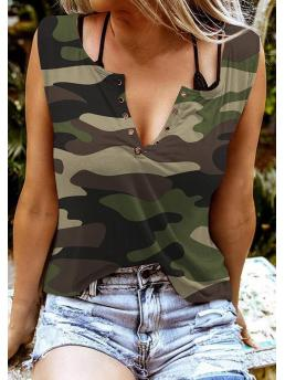 Discount Polyester Camouflage Camouflage Casual Notched Neck Tank Without Black Camisole