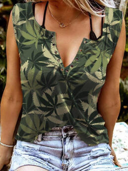 Polyester Camouflage Camouflage Casual Leaf Notched Neck Tank Without Black Camisole Cheap