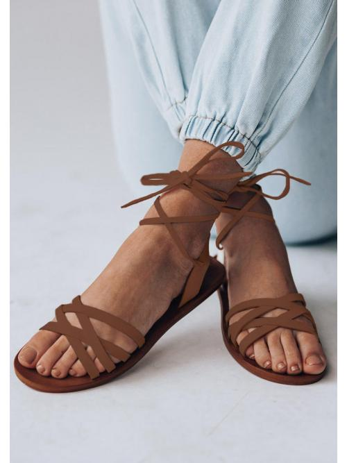 Discount Brown Pu Solid Tpr Lace up Flat Sandals