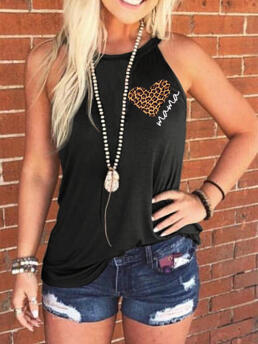 Beautiful Polyester Letter Black Mama Heart Halter Tank Without Necklace