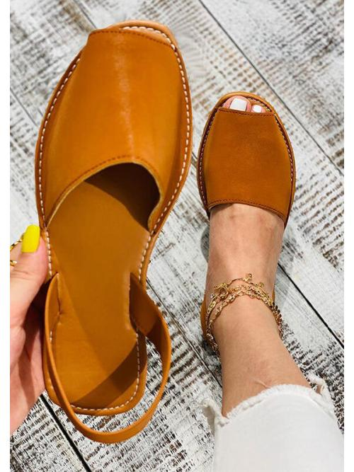 Clearance Brown Pu Solid Rubber Faux Leather Slingback Flat Sandals