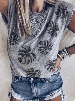 Women's Polyester Leaf Gray Casual Palm O-neck Tank Without Necklace