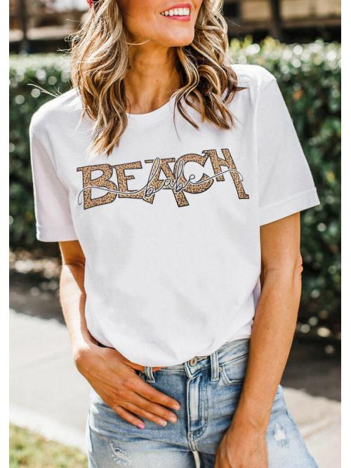 Short Sleeve Polyester Leopard, Letter White Leopard Beach Babe T-shirt Tee on Sale