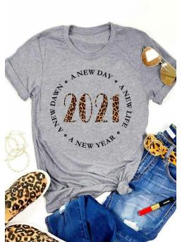 Ladies Short Sleeve Polyester Letter Gray a New Year a New Life 2021 T-shirt Tee