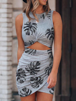 Clearance Gray Leaf O-neck Sleeveless Palm Twist Hollow out Bodycon Dress