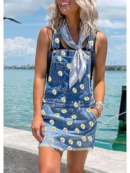 Blue Floral Shorts Casual Daisy Pocket Button Denim Overall Romper Cheap