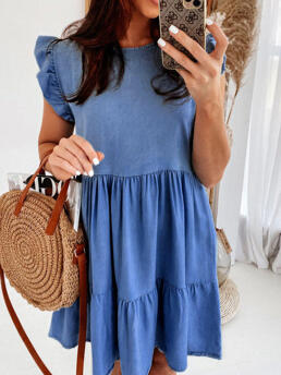 Trending now Blue Solid O-neck Polyester Ruffled Mini Dress
