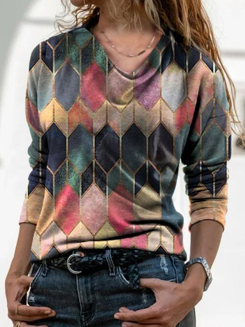 Pretty Long Sleeve Polyester Geometric Multicolor Blouses