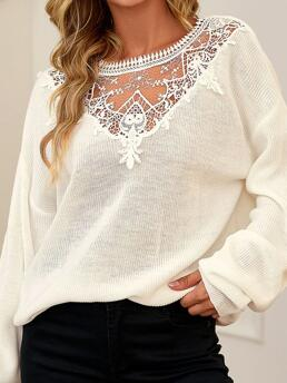 Long Sleeve Sweater Polyester Floral Shifts Trending now