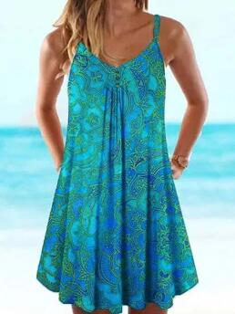 Blue Floral Camisole Neckline above Knee Tunic Cheap