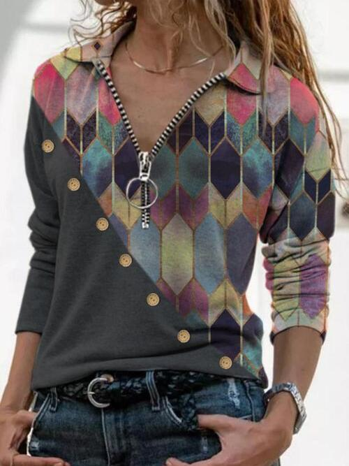 Fashion Long Sleeve Polyester Color Block Pink Blouses
