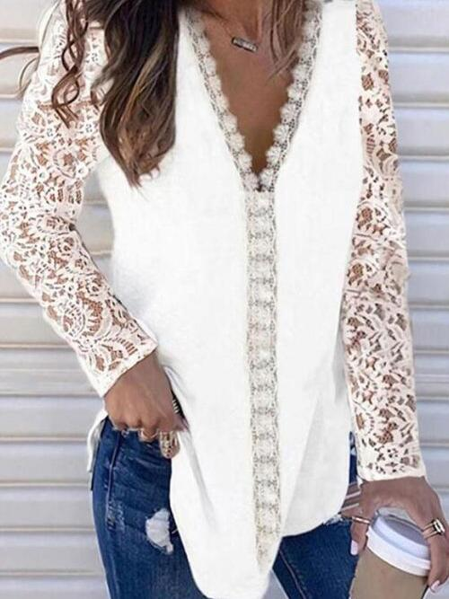 Fashion Long Sleeve Polyester Solid White Blouses