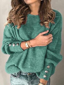 Long Sleeve Sweater Polyester Solid Shifts Clearance