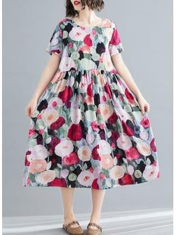 Red Floral Round Neckline Midi A-line Dress Clearance