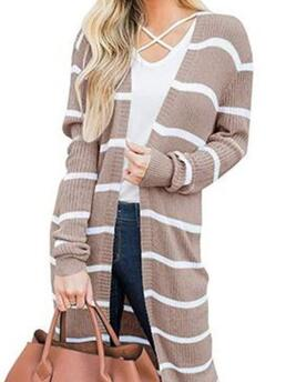 Affordable Long Sleeve Loose, Long, Sweater Coats Cotton Blends Stripe Loose Long Sweater Coats Sweaters