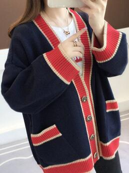 Trending now Long Sleeve Loose, Long, Sweater Coats Knitted Color Block Loose Long Sweater Coats Pockets Buttons Sweaters