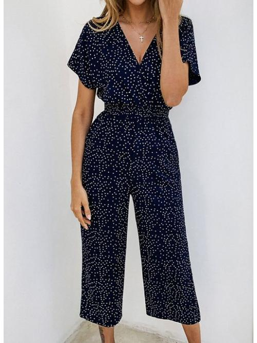 Affordable Dark Blue Polka Dot Maxi Casual & Rompers Jumpsuits