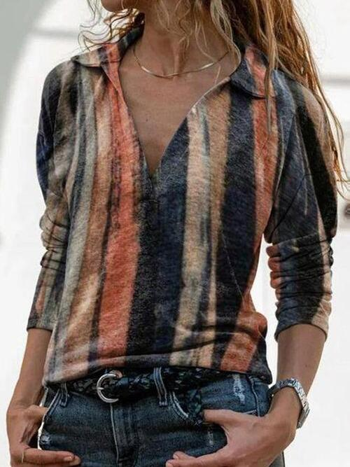 Shopping Long Sleeve Polyester Color Block Multicolor Blouses