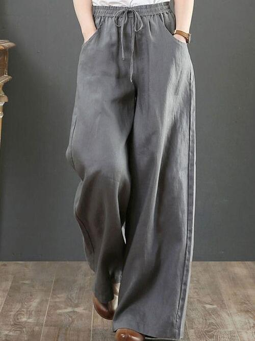 Clearance Dark Gray Loose Solid Casual Polyester Pants