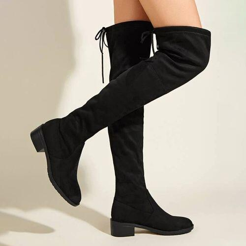 Black Winter Women's over the Knee Closed Toe Discount