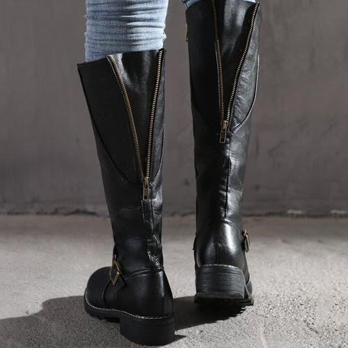 Affordable Black Winter Women's Knee High Closed Toe