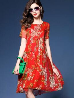 Cheap Red Floral Round Neckline Knee-length Shift Dress